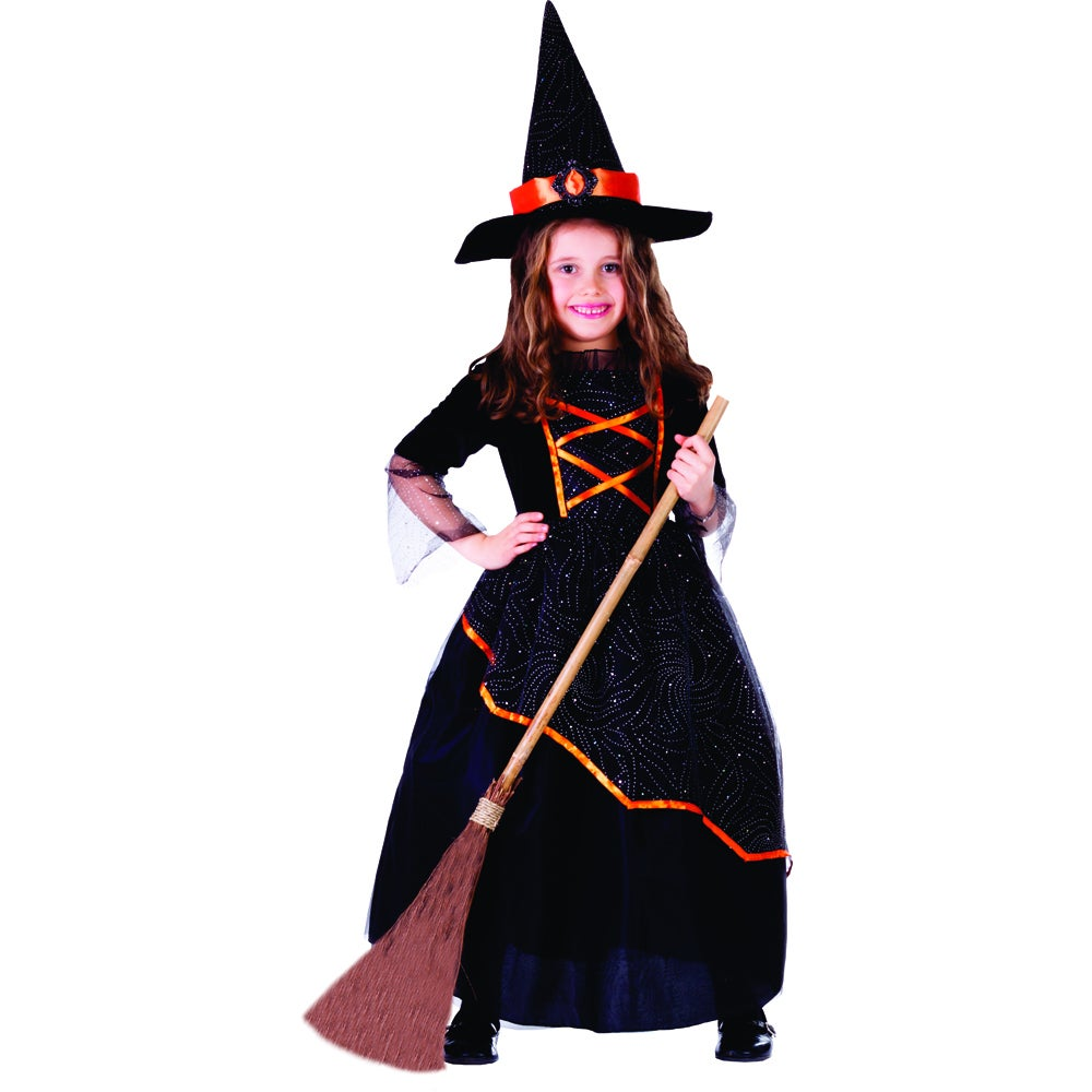 Dress Up America Girl's Black and Orange Witch Costume (L...