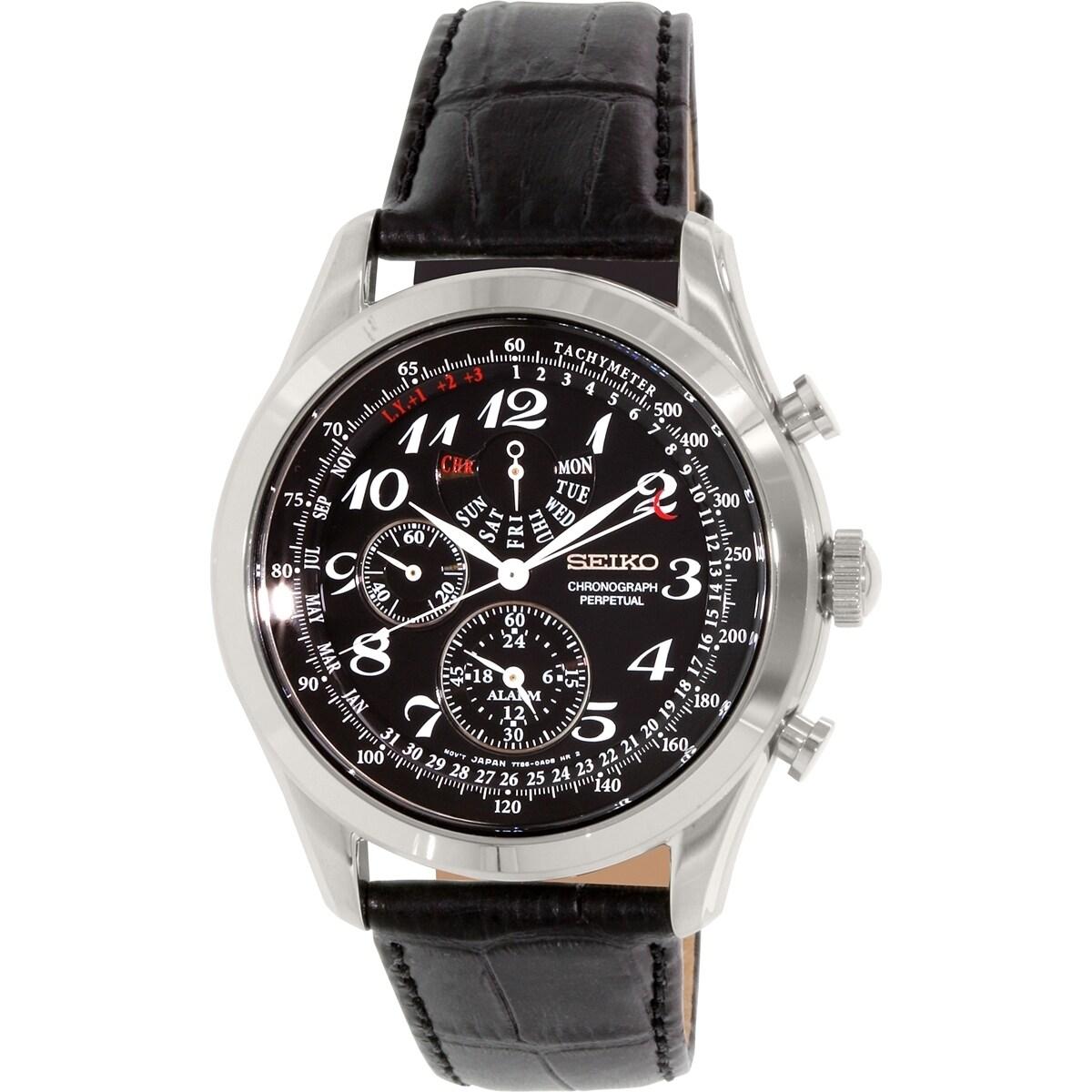 Seiko Men's SPC133 Black Leather Quartz Watch (SPC133), P...