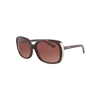 Vernier Women's Brown Rectangle Metal Endpiece Sunglasses