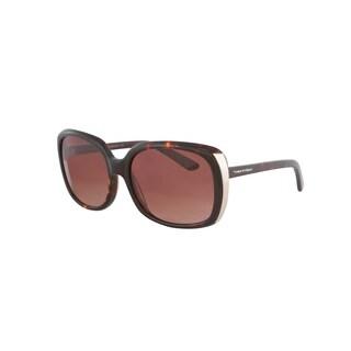 Vernier Women's Brown Rectangle Metal Endpiece Sunglasses