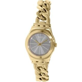 Swatch Women's Irony YSG139 Gold Leather Swiss Quartz Watch