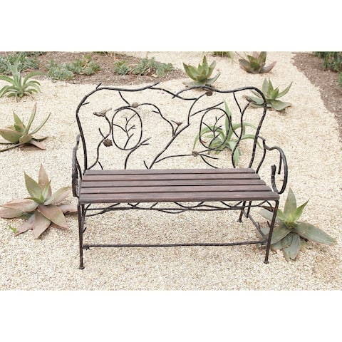 Eclectic 37 X 46 Inch Iron and Fir Wood Garden Bench by Studio 350