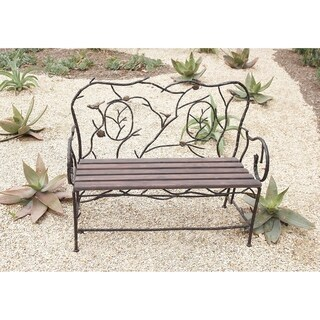 Eclectic 37 x 46 Inch Iron and Wood Slatted Garden Bench by Studio 350