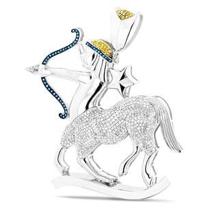 Luxurman 10k White Gold 3ct TDW Color Diamond Saggitarius Necklace (G-H, SI1-SI2)
