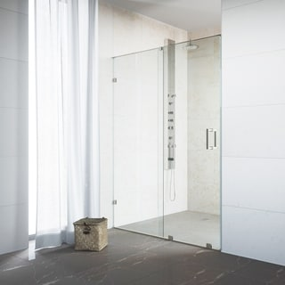 "VIGO Ryland 60-inch Frameless Shower Door with 3/8"" Clear Glass and Stainless Steel Hardware"
