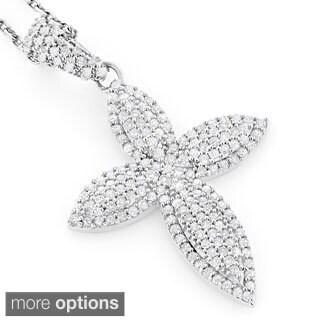 14k Gold 5/8ct TDW Diamond Cross Necklace (H-I, SI1-SI2)
