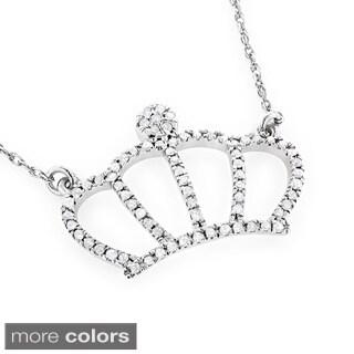 Luxurman 14k Gold 1/5ct TDW Diamond Crown Necklace