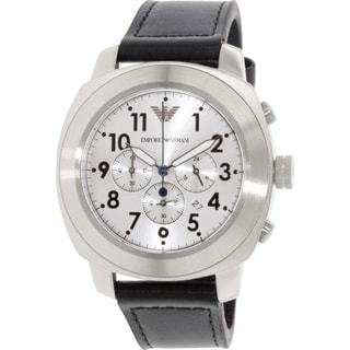 Emporio Armani Men's Delta AR6054 Black Leather Quartz Watch