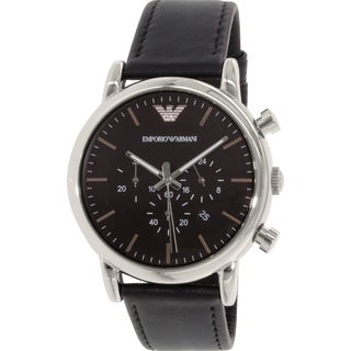 Emporio Armani Men's Classic AR1828 Black Leather Quartz Watch