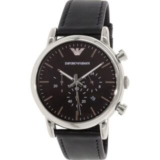 Emporio Armani Men's Classic AR1828 Black Leather Quartz Watch