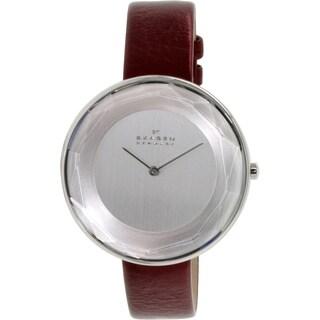 Skagen Women's Gitte SKW2273 Silvertone Leather Quartz Watch