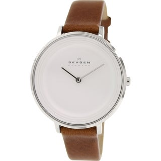 Skagen Women's SKW2214 Ditte Analog Silver Dial Brown Leather Watch