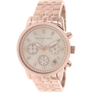Michael Kors Women's Ritz MK6077 Rose-goldtone Stainless Steel Quartz Watch