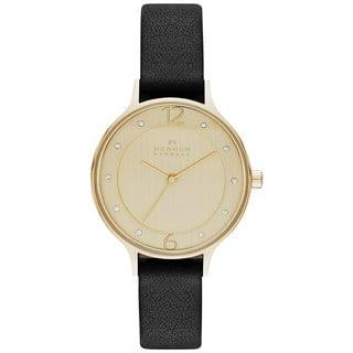 Skagen Women's SKW2266 Anita Diamond Gold Dial Black Leather Watch https://ak1.ostkcdn.com/images/products/10164308/P17292865.jpg?impolicy=medium