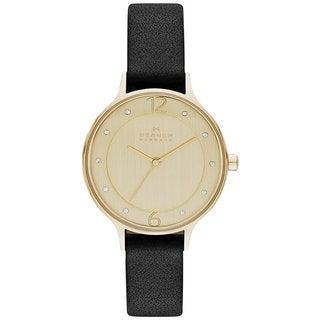 Skagen Women's Anita Diamond Gold Dial Black Leather Watch