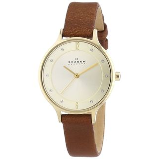 Skagen Women's Anita SKW2147 Brown Leather Quartz Watch