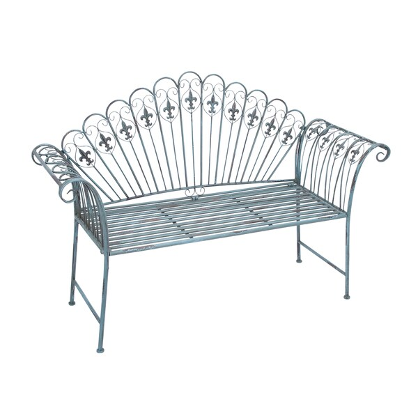 metal decorative bench free shipping today overstock 17292887. Black Bedroom Furniture Sets. Home Design Ideas