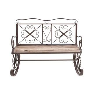 Decorative Metal & Wood Rocking Bench