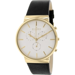 Skagen Men's SKW6143 Ancher Multi-Function White Dial Black Leather Watch