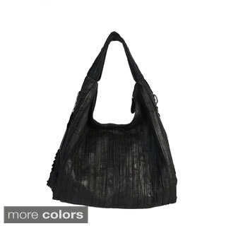 Mllecoco Genuine Leather Patch Ruffle Hobo Bag