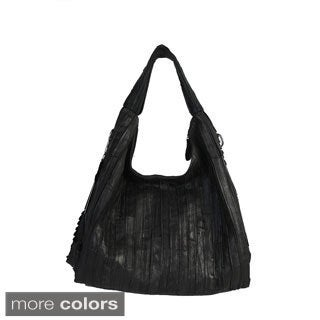 Mllecoco Genuine Leather Patch Ruffle Hobo Bag - L