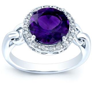 Estie G 14k White Gold Amethyst and 1/8ct TDW Diamond Ring (H-I, VS1-VS2)(Size 7)