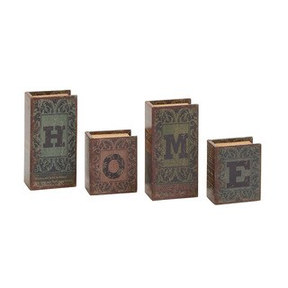 Home Written Wood Faux Leather Book Box Set of 4