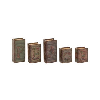 Peace Written Wood Faux Leather Book Box Set of 5