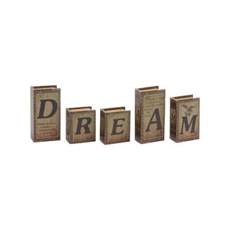 Dream Written Wood Faux Leather Book Box Set of 5