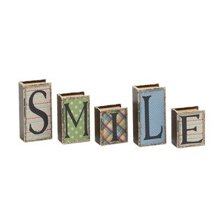 Smile Written Wood Faux Leather Book Box Set of 5