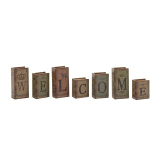 Welcome Written Wood Faux Leather Book Box Set of 5