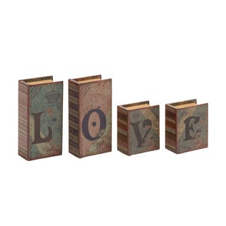 Love Written Wood Faux Leather Book Box Set of 4
