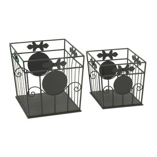 Enticing Set of Two Metal Outdoor Planter