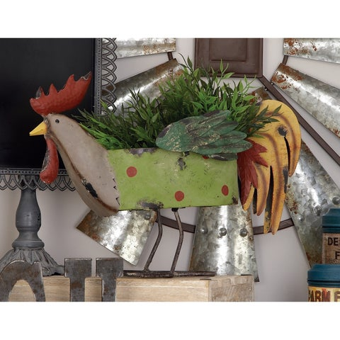 Studio 350 Metal Rooster Planter 16 inches wide, 12 inches high