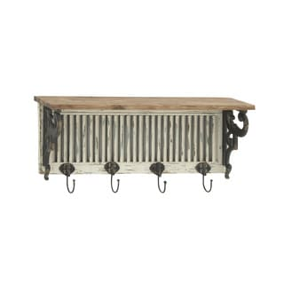 Antique Themed Wooden Wall Shelf with Hooks