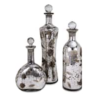 Madison Etched Mercury Glass Lidded Bottles (Set of 3)