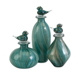 Bellatrix Glass Bird Stopper Bottles (Set of 3)