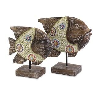 Kawela Mosaic Glass Fish (Set of 2)