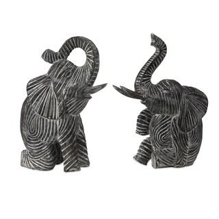 Bakari Wood Carved Elephants (Set of 2)