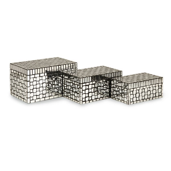 Foley Mirror Mosaic Boxes (Set of 3)