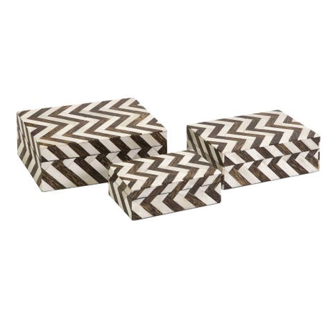Zig Zag Bone Inlay Boxes (Set of 3)