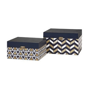 Nora Navy And Gold Boxes (Set of 2)