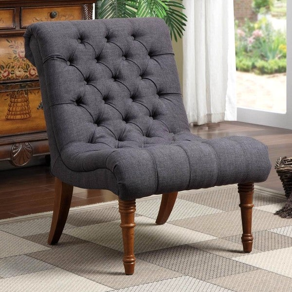 tufted living room chair shop traditional classic design button tufted charcoal 13677
