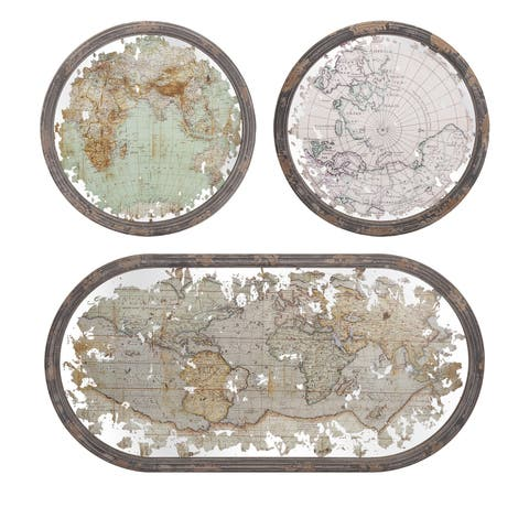 Mirrored Map Wall Decor (Set of 3)