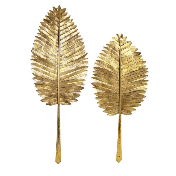 Shop Milano Gold Leaf Wall Leaves Set Of 2 Overstock