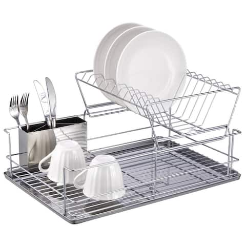 Home Basics 2-tier Dish Rack - Silver