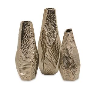 Metallic Bronze Geometric Vases (Set of 3)