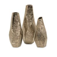 Metallic Bronze Geometric Vases (Set of 3)