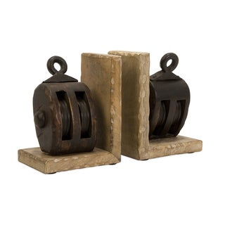 Mason Wood Pulley Bookends