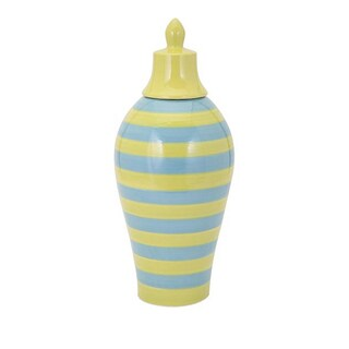 Savannah Blue And Green Striped Lidded Vase - Large